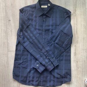 Men's Burberry Collared Shirt Size 16-41 Navy Blue